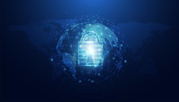 Segurança cibernética abstrata com círculo azul do mundo cadeado Vetor Premium