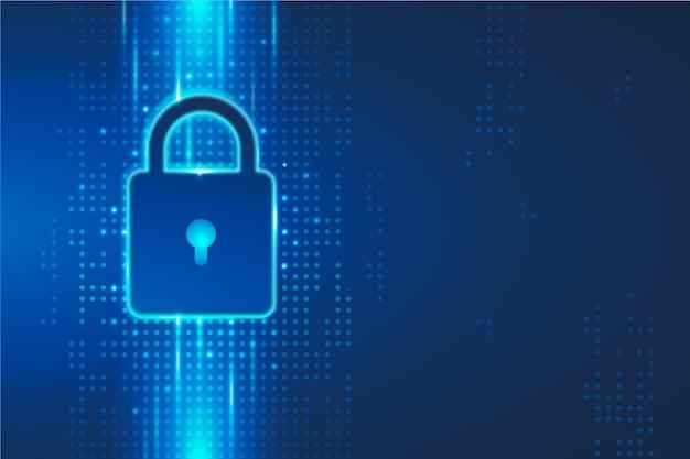 Segurança cibernética com cadeado digital Vetor grátis