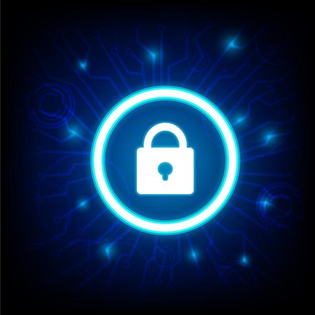 Segurança cibernética com ícone de chave no escuro Vetor Premium