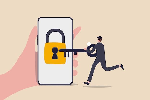 Segurança cibernética, hacker rouba dinheiro online, phishing ou conceito de ameaça de banco digital Vetor Premium
