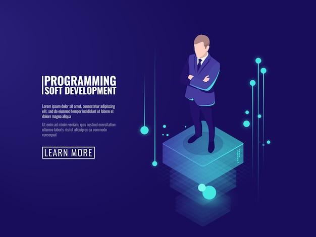 Segurança da informação, um homem em um terno de negócios, um fluxo de dados Vetor grátis