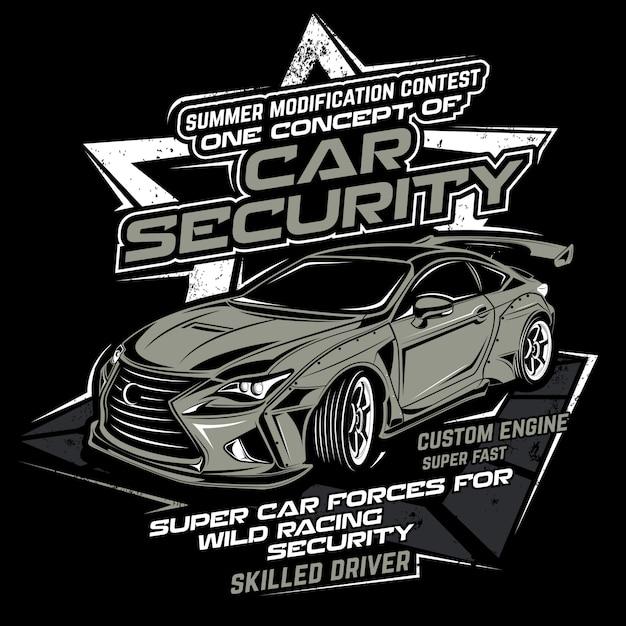 Segurança de carro, ilustração vetorial de carro Vetor Premium