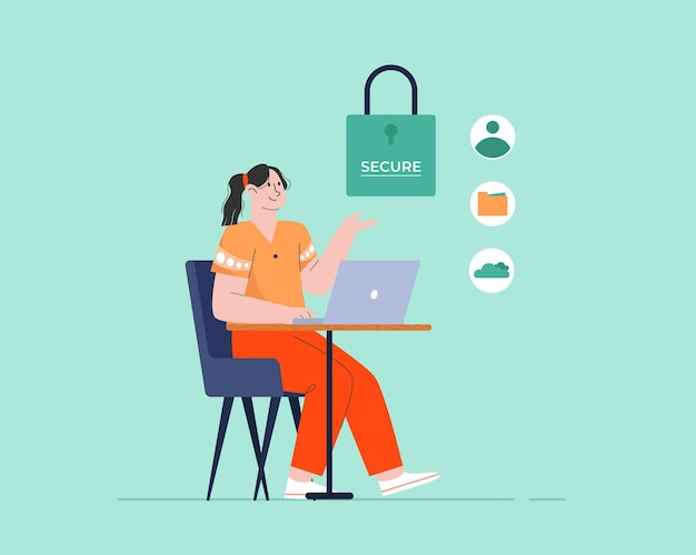 Segurança de dados Vetor Premium