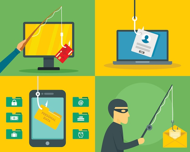 Segurança de email de phishing Vetor Premium