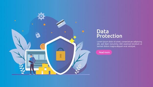 Segurança de rede de segurança e proteção de dados confidenciais com caráter de pessoas Vetor Premium
