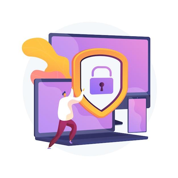 Segurança geral de dados. proteção de informações pessoais, controle de acesso a banco de dados, privacidade cibernética. dispositivos sincronizados, regulamentação de dispositivos multiplataforma. ilustração vetorial de metáfora de conceito isolado Vetor grátis