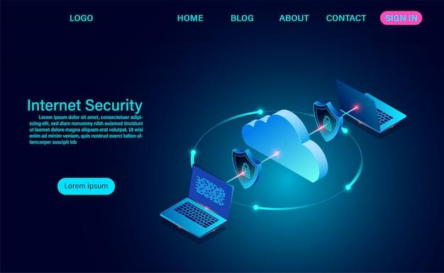 Segurança na internet com informações de transferência de dados. protege os dados contra roubos de dados e ataques de hackers. design plano isométrico. ilustração vetorial Vetor Premium