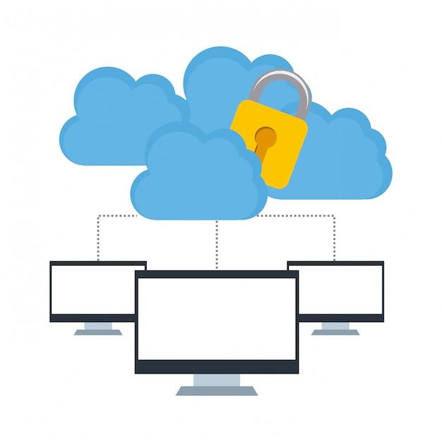 Segurança na nuvem Vetor Premium