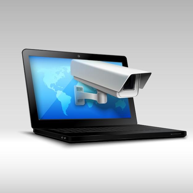 Segurança web laptop Vetor grátis