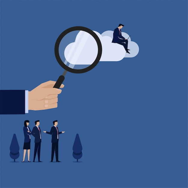 Segure a mão do conceito de vetor plana de negócios ampliar e empresário trabalhar na metáfora da nuvem de busca na nuvem. Vetor Premium
