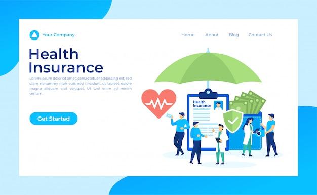 Seguro de saúde landing page Vetor Premium