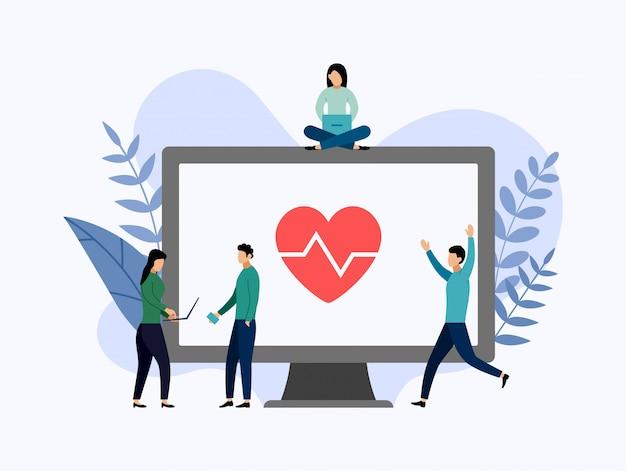 Seguro de saúde, proteção de saúde, ilustração de negócios Vetor Premium