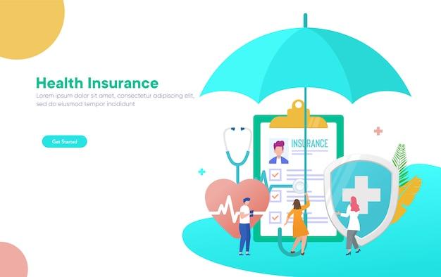 Seguro de saúde vector ilustração conceito, pessoas com seguro de forma de saúde de preenchimento de médico Vetor Premium