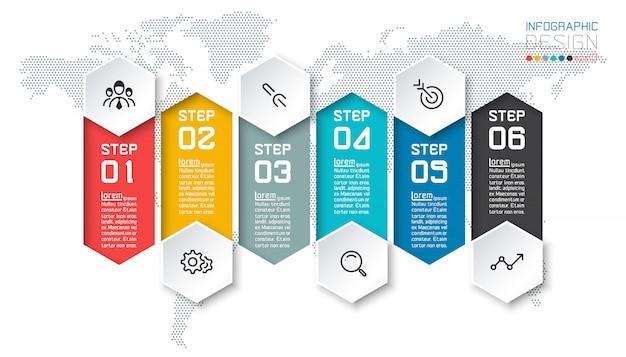 Seis bares coloridos com infográficos de ícone de negócios Vetor Premium