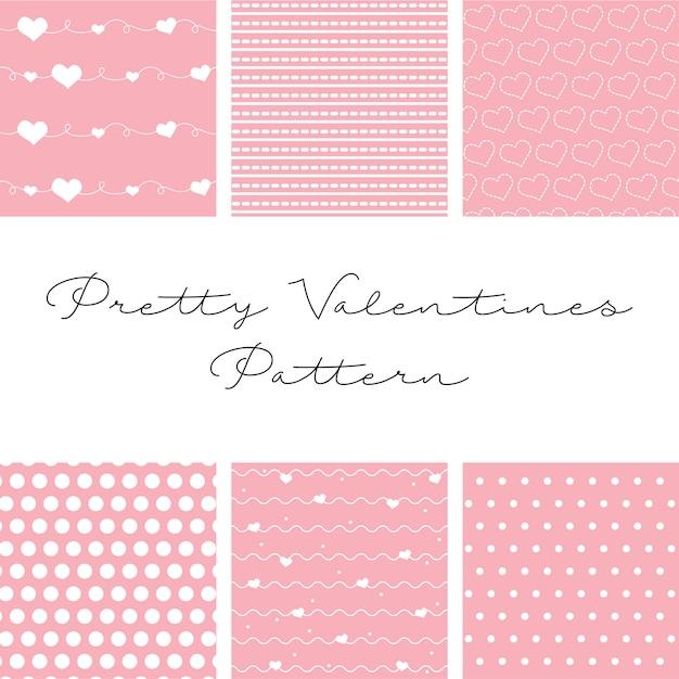 Seis belos padrões para o dia dos namorados Vetor Premium