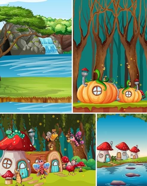 Seis cenários diferentes do mundo de fantasia com belas fadas no conto de fadas e cena de queda d'água e casas de fantasia Vetor grátis