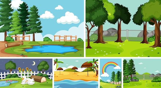Seis cenas da natureza com diferentes locais Vetor grátis