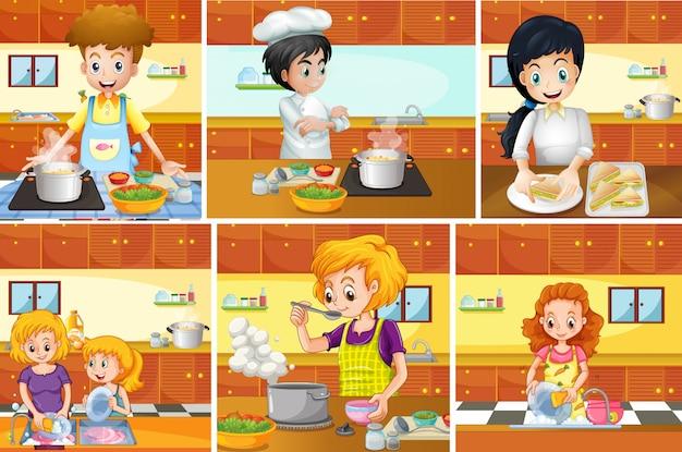 Seis cenas de pessoas cozinhando na cozinha Vetor Premium