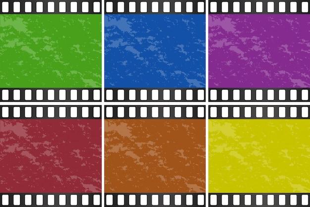 Seis cores diferentes de slide de filme Vetor grátis