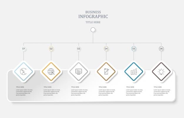 Seis elemento e ícones para o conceito de negócio. Vetor Premium