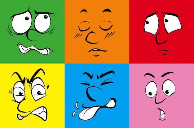 Seis emoções humanas em fundo colorido Vetor grátis