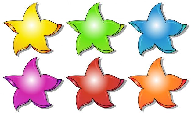 Seis estrelas coloridas Vetor grátis