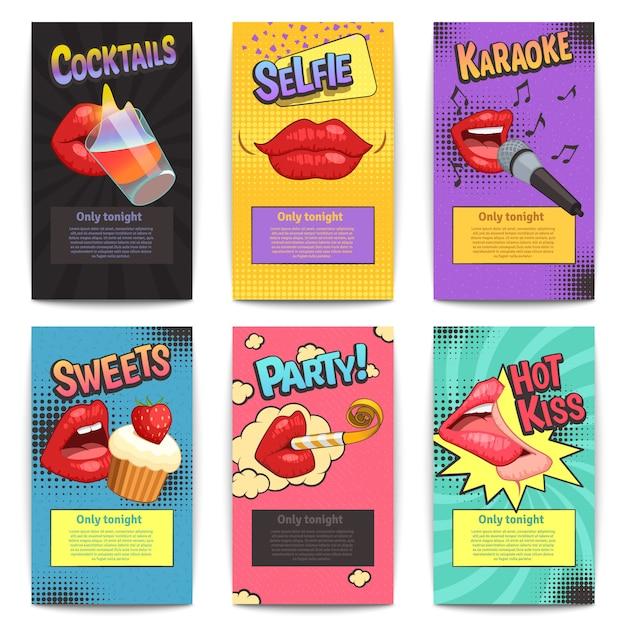 Seis isolados em quadrinhos lábios festa colorida mini cartazes conjunto Vetor grátis