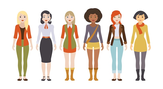Seis personagens femininas diferentes Vetor Premium