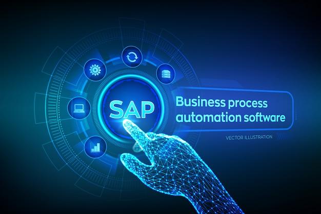 Seiva. software de automação de processos de negócios. wireframed mão robótica tocando interface gráfico digital. Vetor Premium