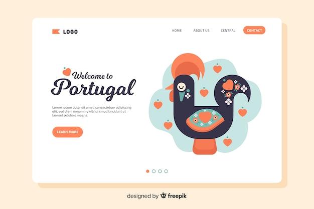 Seja bem-vindo à página de destino de portugal Vetor grátis