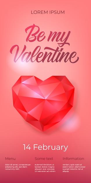 Seja meu valentine lettering com coração de diamante Vetor grátis