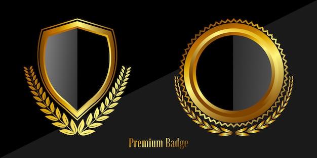 Selar emblemas e etiquetas de ouro com qualidade premium Vetor Premium