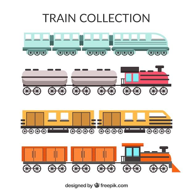 Seleção colorida de trens planos Vetor grátis