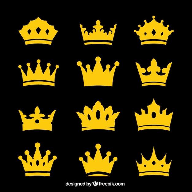 Seleção de coroas decorativas em desenho plano Vetor grátis