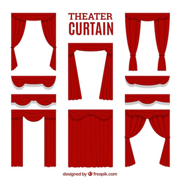 Seleção de cortinas de teatro decorativos Vetor grátis