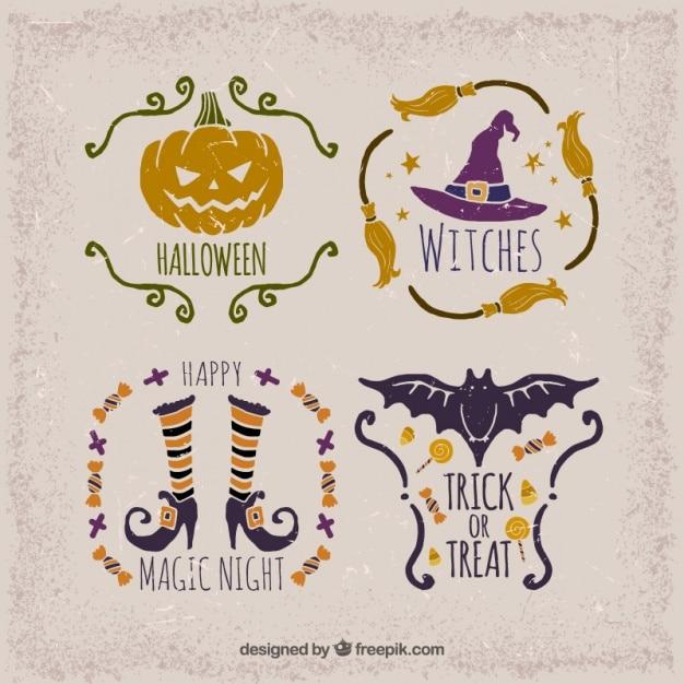 Seleção de etiquetas do vintage para o dia das bruxas Vetor grátis