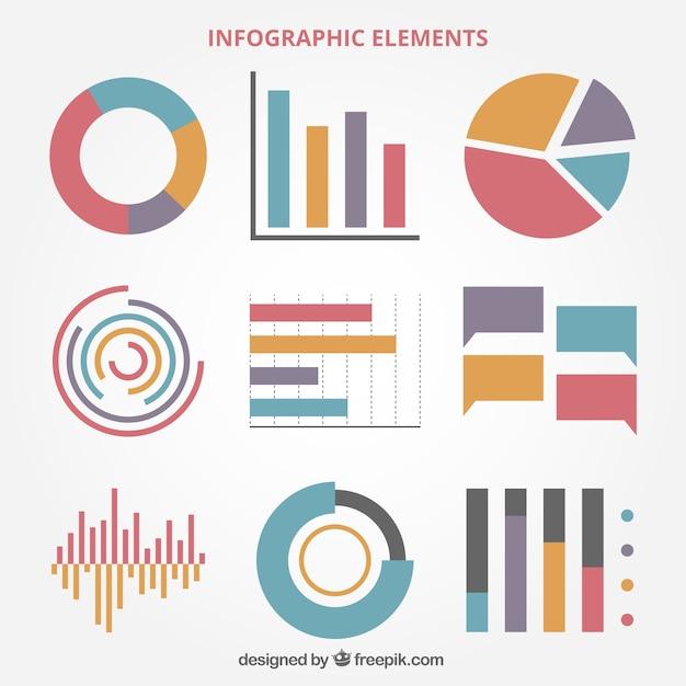 Seleção de gráficos coloridos no design plano de infográficos Vetor grátis