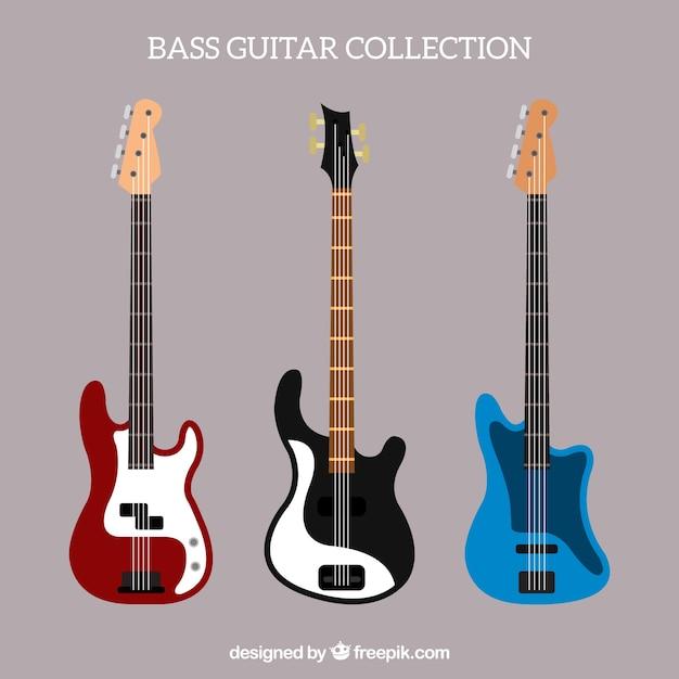 Seleção de guitarras baixas em design plano Vetor Premium