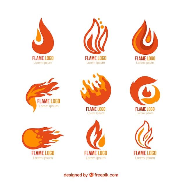 Seleção de nove logotipos com chamas coloridas Vetor grátis