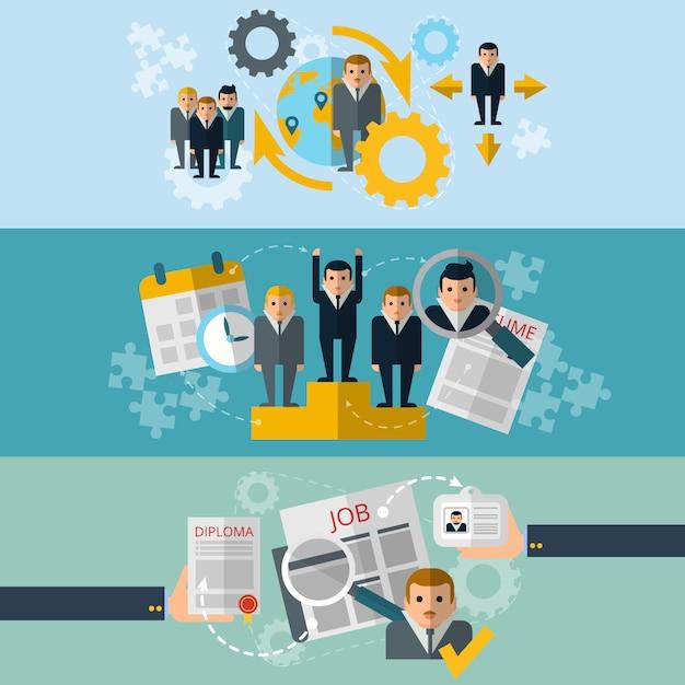 Seleção de pessoal de recursos humanos e estratégia efetiva de recrutamento de funcionários Vetor grátis