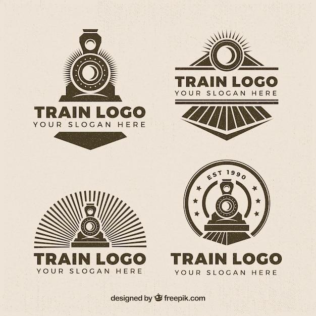 Seleção de quatro logos de trem em estilo retro Vetor Premium