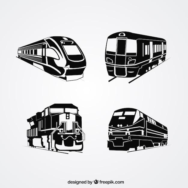 Seleção de quatro silhuetas de trem Vetor grátis