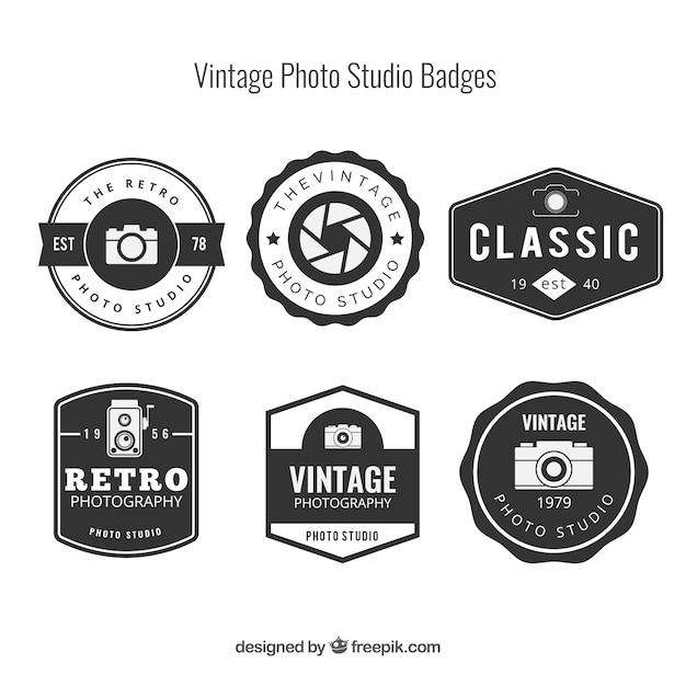 Seleção de seis logotipos do vintage para a fotografia Vetor grátis