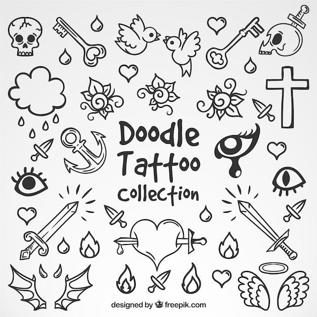 Seleção de tatuagens do doodle Vetor grátis