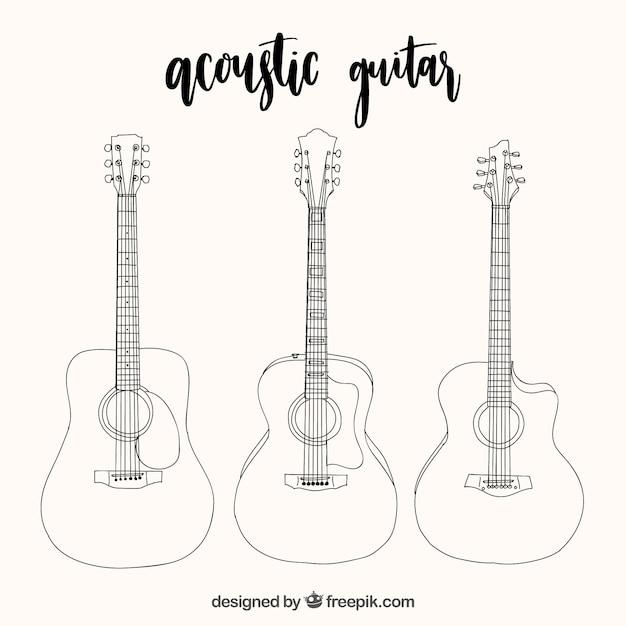 Seleção de três guitarras acústicas em estilo desenhado à mão Vetor grátis