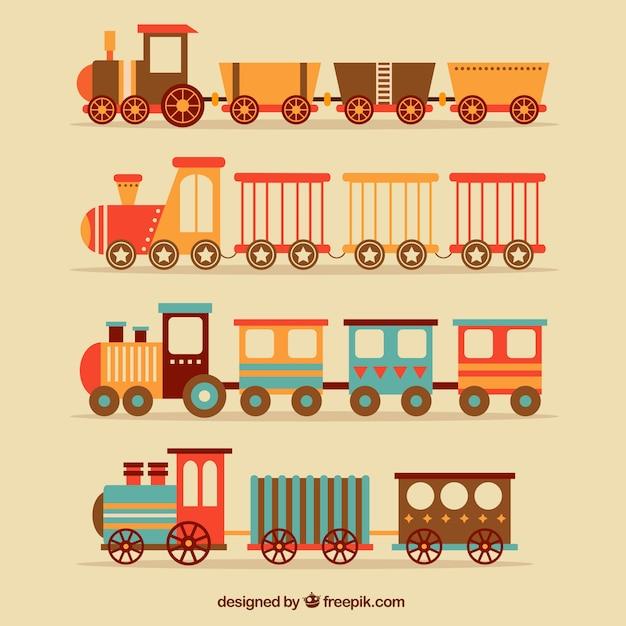 Seleção plana de trens vintage Vetor grátis