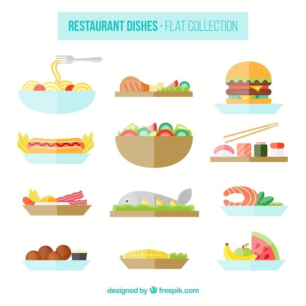 Selecção de pratos de restaurante planas Vetor grátis