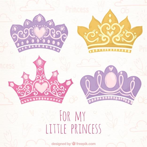 Selecção desenhada à mão de quatro coroas de princesa colorida Vetor grátis