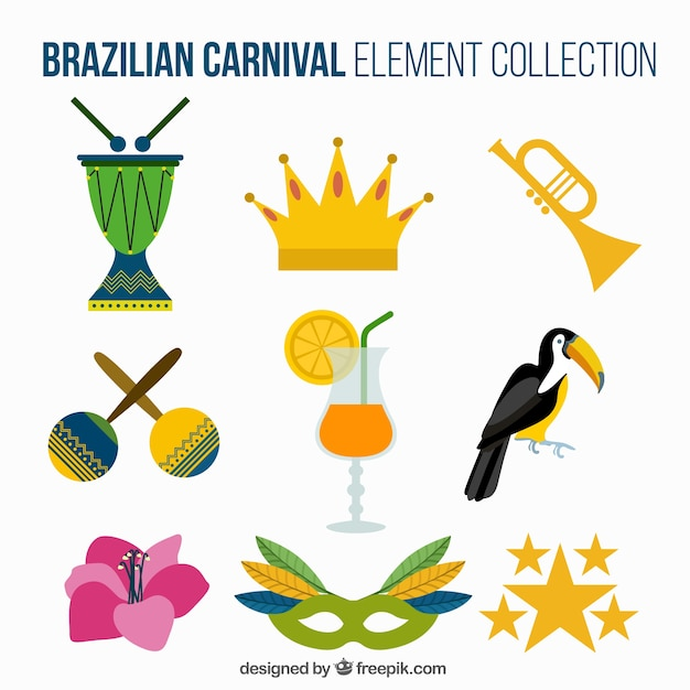 Selecção dos elementos de carnaval brasileiro em design plano Vetor grátis