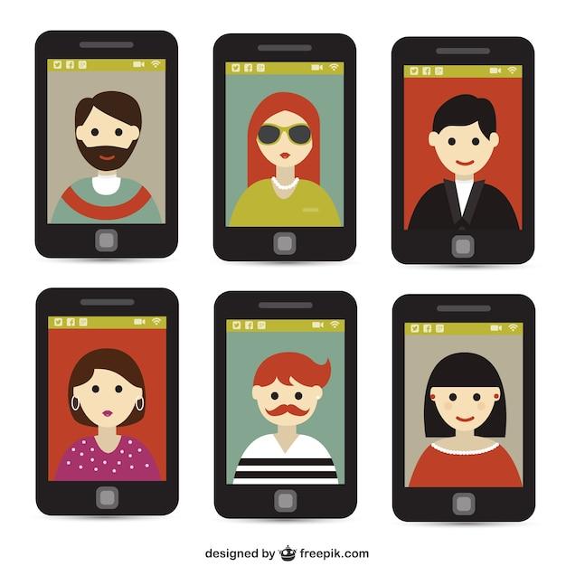 Selfie com telefone inteligente Vetor grátis
